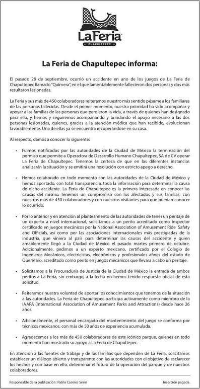 Comunicado oficial de La Feria de Chapultepec