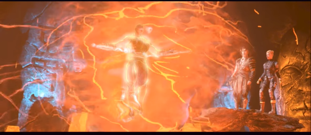 Raiden absorbiendo la maldad del Jin-Sei