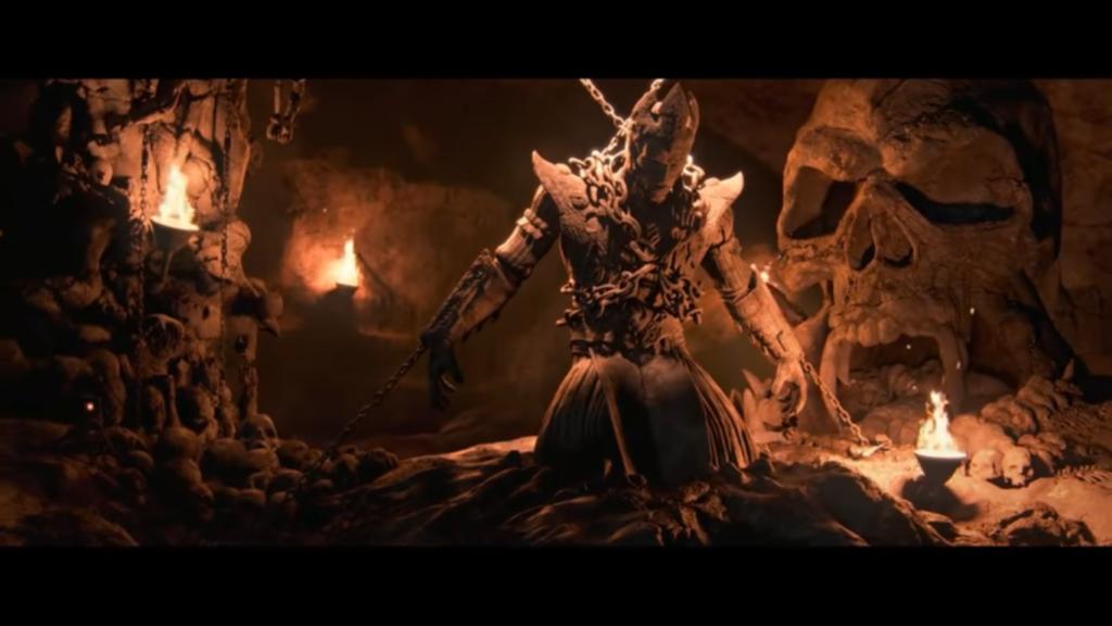 Shinok despues de ser derrotado por los Dioses Antiguos  Mortal Kombat 11