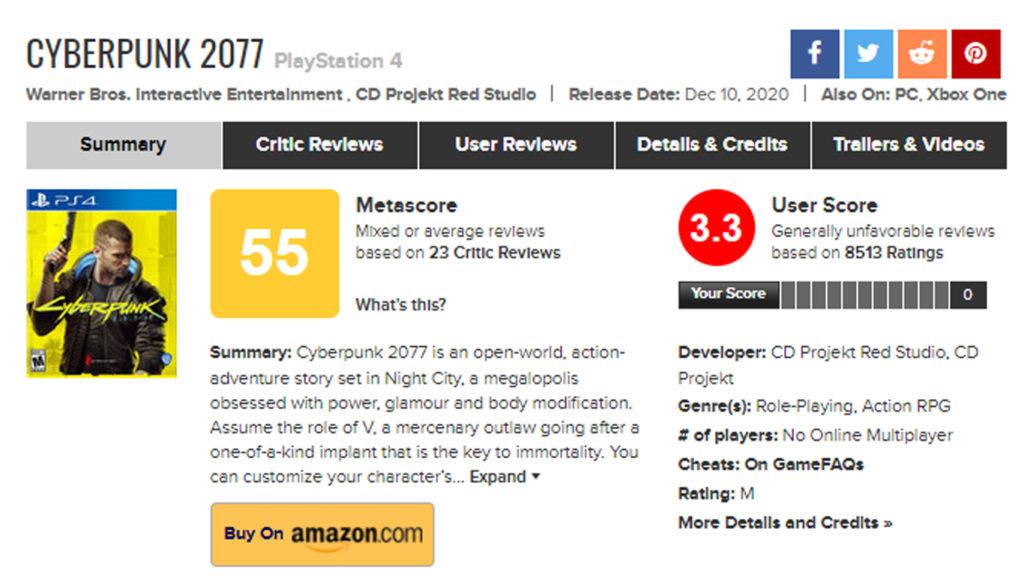 Más Problemas para CD Projekt RED, La versión de PS4 ha recibido bastante desaprobacion del publico.