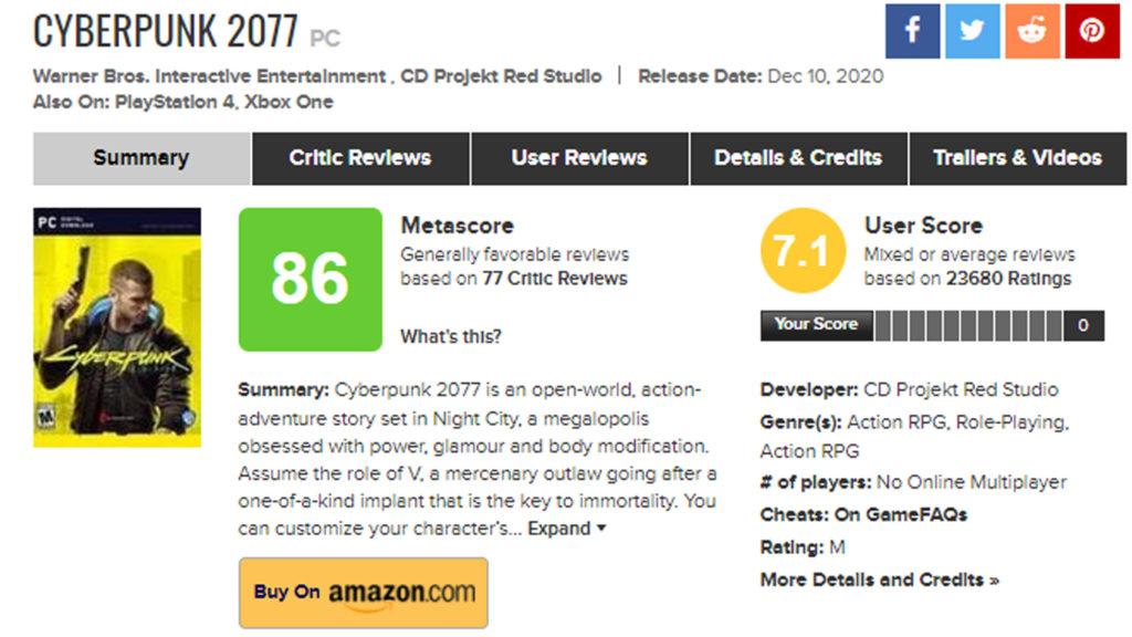 Más Problemas para CD Projekt RED, la version de PC de Cyberpunk