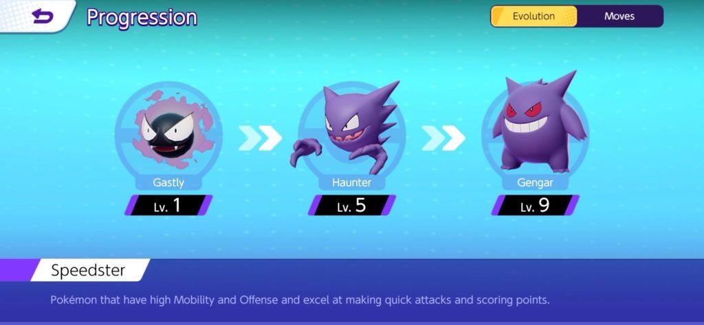 Pokémon Unite evolución y tipo
